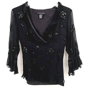 Silkland Women's S Sequined Embroidered Black Top